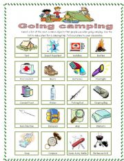 English Worksheet: Camping pictionary