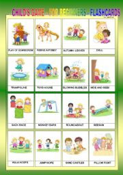 English Worksheets: CHILD�S GAME FOR BEGINNERS - FLASHCARDS