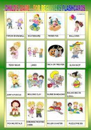 English Worksheets: CHILD�S GAME FOR BEGINNERS - FLASHCARDS II
