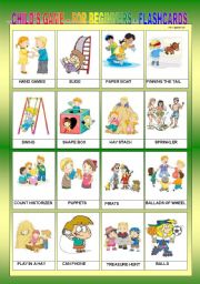 English Worksheets: CHILD�S GAME FOR BEGINNERS - FLASHCARDS III