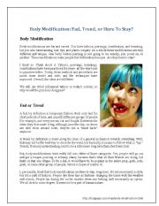 English Worksheets: Body Modification: Fad, Trend, or Here to Stay?