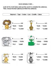 English Worksheet: Wild animals can...