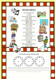 English Worksheets: Daily activities. Time. CHANT!!