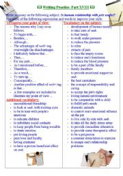 English Worksheet: Writing practice for TOEFL/IELTS exams. Useful expressions and vocabulary. PartXVIII.