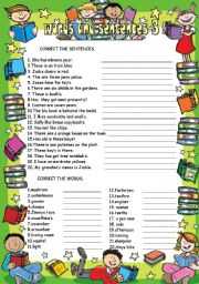 English Worksheets: Words and sentences 3