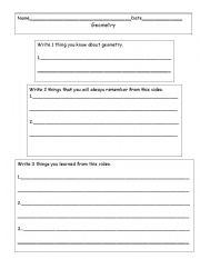 English worksheets: 3-2-1 Geometry