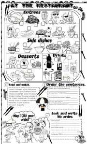 English Worksheet: at the restaurant