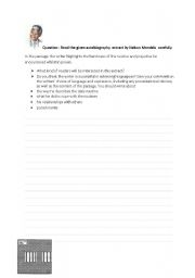 English Worksheets: KS3 Personal recount/autobiography