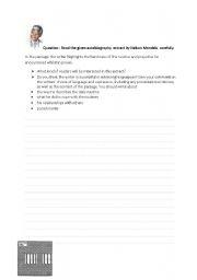 English Worksheet: KS3 Personal recount/autobiography
