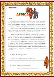 English Worksheets: Africa / 2 pages/ 4 Tasks