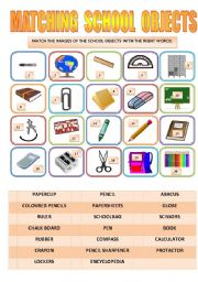 English Worksheet: MATCHING SCHOOL OBJECTS