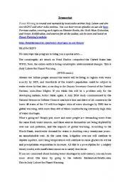 English Worksheet: PLANET WARNING: WATER SHORTAGE