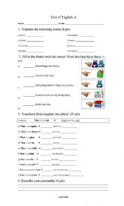 English Worksheets: Test of plurals English