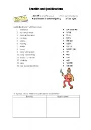 English Worksheets: benefits and qualifications
