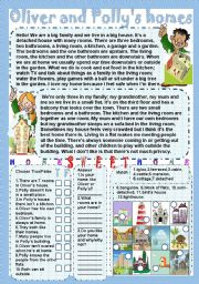 English Worksheets: Oliver and Polly�s homes