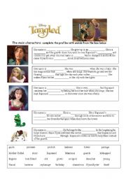 English Worksheets: Tangled movie character profiles