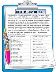 English Worksheets: Reading comprehension. I am Duna.