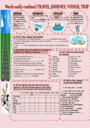 English Worksheets: WORDS EASILY CONFUSED: TRAVEL, VOYAGE, TRIP, JOURNEY, EXPEDITION.