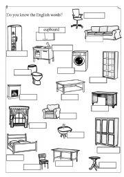 English teaching worksheets: Furniture | furniture exercises esl