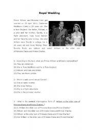 Reading Comprehension - Royal Wedding