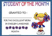 English Worksheets: STUDENT OF THE MONTH AWARD