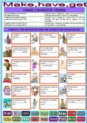 English Worksheet: Causative verbs-make-have-get