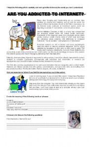 English Worksheet: Are you addicted to Internet?