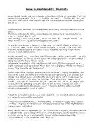 English Worksheets: Jimmy Hendrix