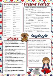 English Worksheet: Present Perfect practice (B&W + KEY included)