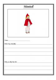 English Worksheet: Little Red Riding Hood Wanted Poster