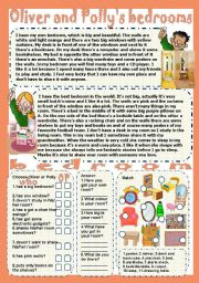 English Worksheets: Oliver and Polly�s bedrooms