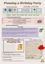 English Worksheet: Planing a Birthday Party