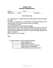 English Worksheets: Readin comprehension