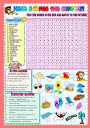 English Worksheet: HERE COMES THE SUMMER! (PART 2) (word search + a poem + some summer quotes)))