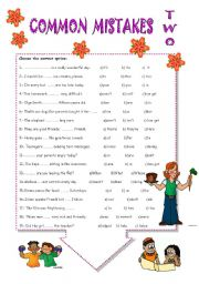 English Worksheet: COMMON MISTAKES.TWO