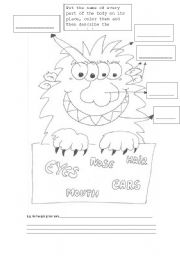 English worksheet: Monster body parts´ activities