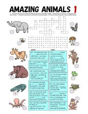 English Worksheet: Can & Can`t fill-in blanks, Matching Quiz, Crossword Puzzle, Word Search