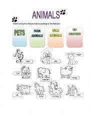 English Worksheet: Animals habitat