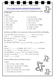 English Worksheets: Cat Steven�s - Father and Son Song + Video + Lyrics