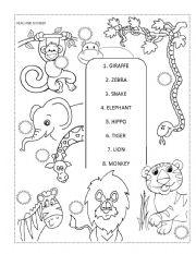 zoo animals read and number esl worksheet by fabiola r. Black Bedroom Furniture Sets. Home Design Ideas