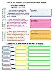 English Worksheet: writing a report 3 -  identifying main ideas