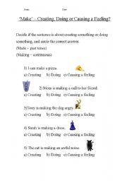 English Worksheets: The different uses of make
