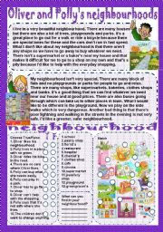 English Worksheets: Oliver and Polly�s neighbourhoods