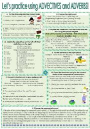 English Worksheet: PRACTICING ADJECTIVES AND ADVERBS.USING.