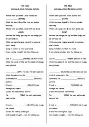 English Worksheet: Word Formation - Pink Floyd - Coming Back to Life