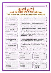 > Phrasal Verbs Practice 18! > --*-- Definitions + Exercise --*-- BW Included --*-- Fully Editable With Key!
