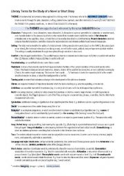 English Worksheet: Literary terms for the study of a novel or short story