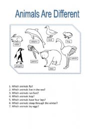 English Worksheets: Animals are different