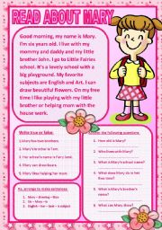 English Worksheets: READ ABOUT MARY (READING COMPREHENSION