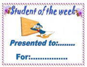 English Worksheets: STUDENT OF THE WEEK